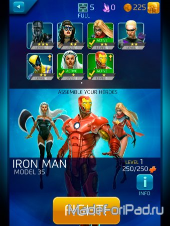 Marvel Puzzle Quest: Dark Reign для iPad. Супергеройские 3 в ряд